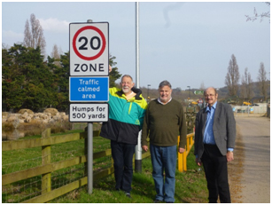 Cllrs Etheridge, Hicks and Williams at the new 20mph zone on Islingham Farm Road